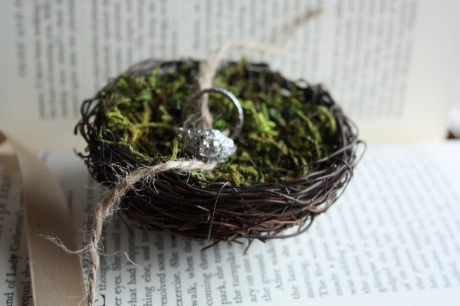 Свадьба - Nest ring holder, Ring Nest, Ring Bearer, Ring Pillow, Proposal Ring pillow, Nest for wedding bands,twig nest and moss ring bearer pillow