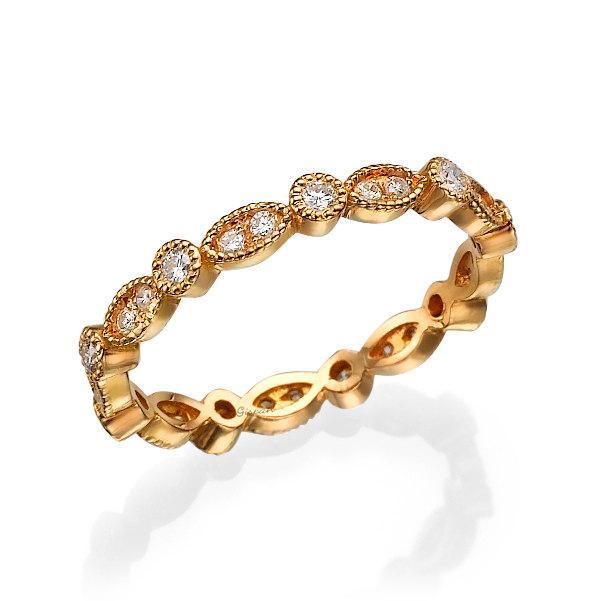 Свадьба - Eternity ring, rose gold ring, eternity band, Wedding Band, Wedding Ring, Diamond ring, art deco ring, full setting ring, Leaf Ring