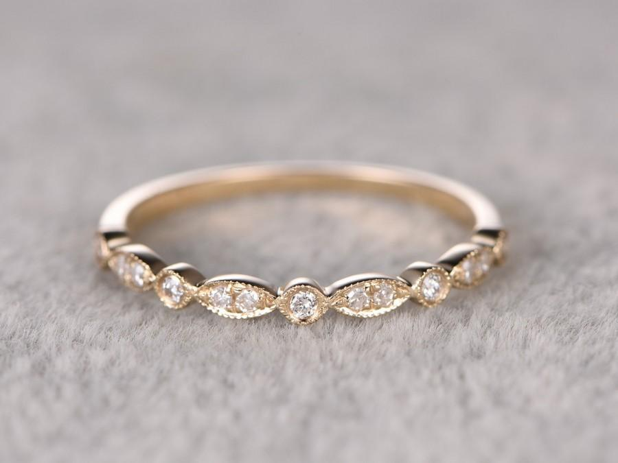 Favori Natural Diamonds,Half Eternity Wedding Ring,Solid 14K Yellow Gold  AJ45