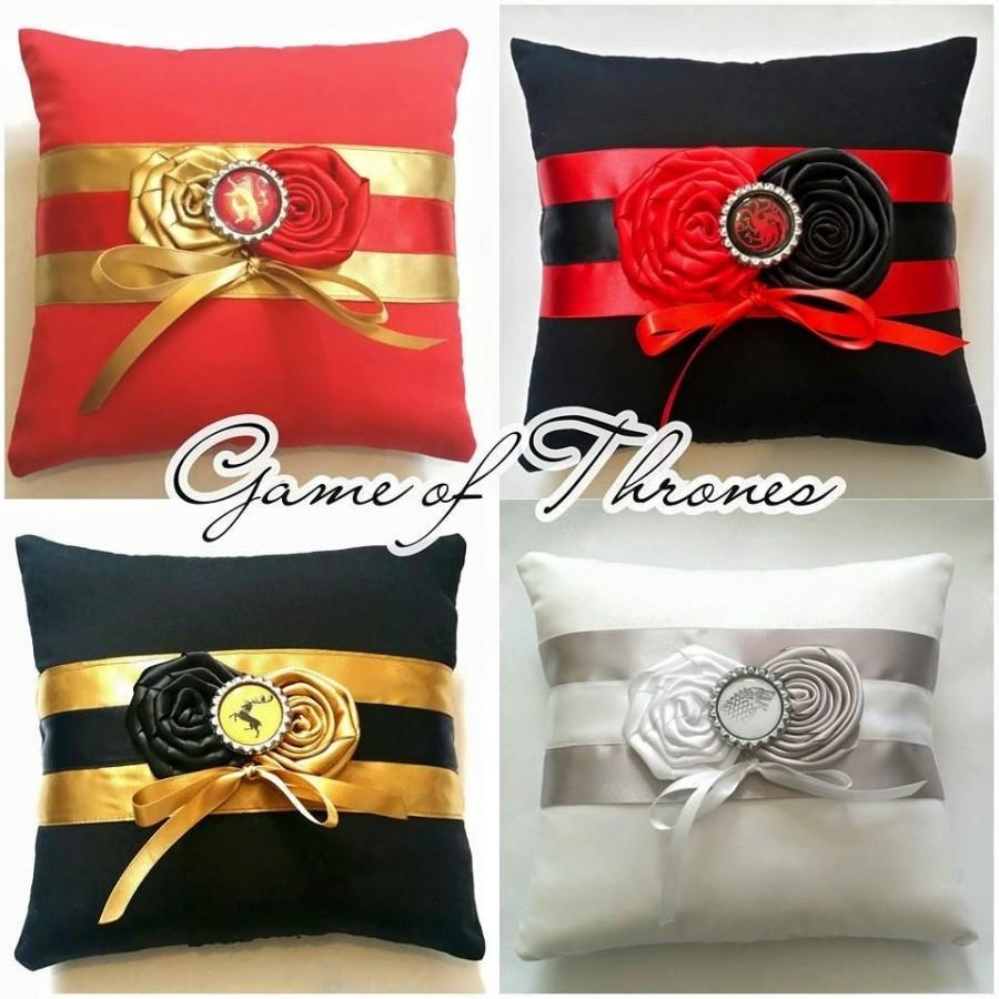Свадьба - Game of Thrones Wedding Ring Pillows in House Lannister,Stark,Targaryen and Baratheon colours- ( 6x6 inch pillow )