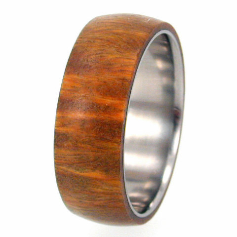 Свадьба - Wood Ring - Lignum Vitae Wood Overlay on Titanium Band - Wedding band, Ring Armor Included