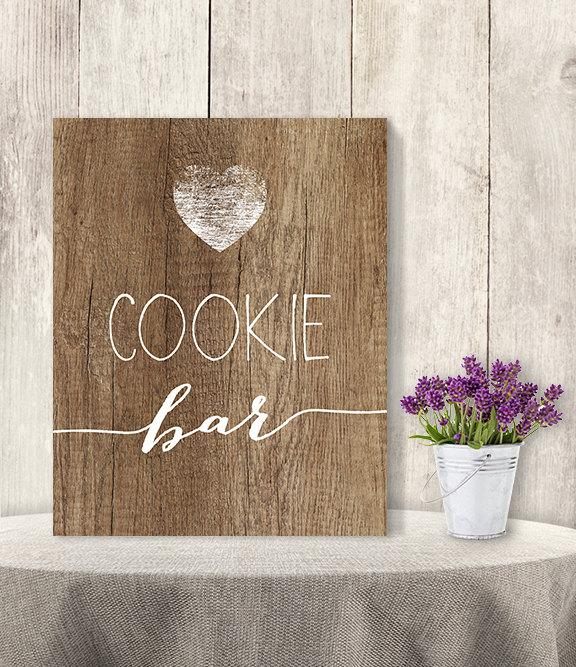 Свадьба - Cookie Bar Sign // Rustic Wedding Cookie Sign DIY // Rustic Wood Sign, White Calligraphy Printable PDF, Rustic Poster ▷ Instant Download