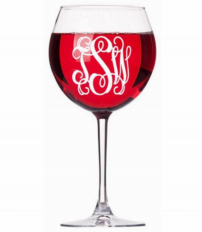 Свадьба - Monogram Decal Wine Glass Decal Wine Glass Sticker Three Initial Decal Monogram Sticker