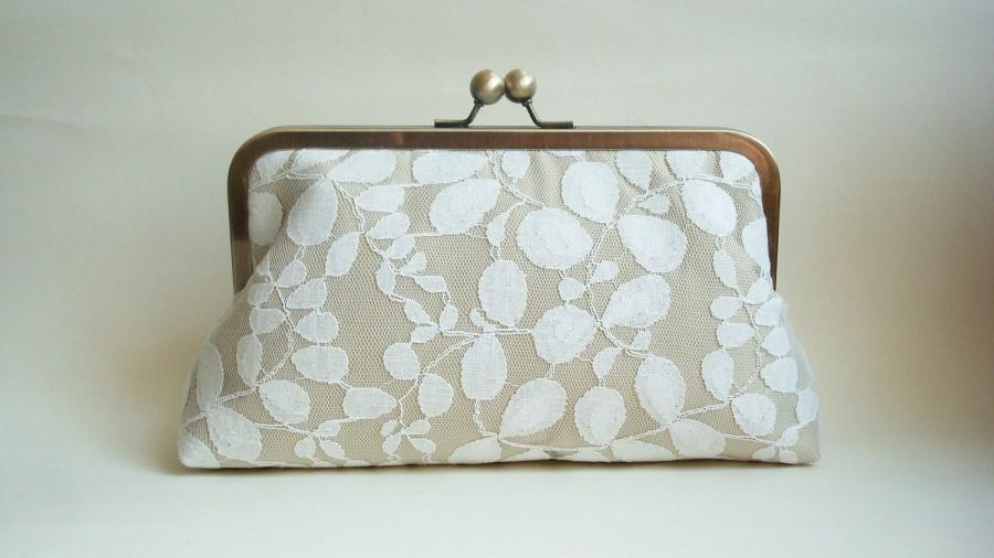 Mariage - Ivory Leaves Wedding  Purse Ivory Lace Romantic Large Size Clutch