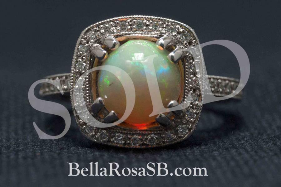 Mariage - On Hold P2 Brushstroke Opal Cabochon Engagement Ring With Milgrain Border Diamond Halo 14k White Gold Engraved Estate Art Deco Inspired