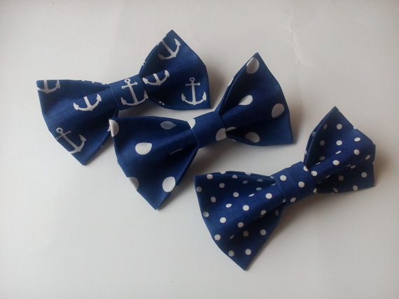 Mariage - Bow ties for boyfriend Three navy men's bowties Nautical tie with anchors Navy blue polka dots neckties Graduation ties Gifts for coworkers
