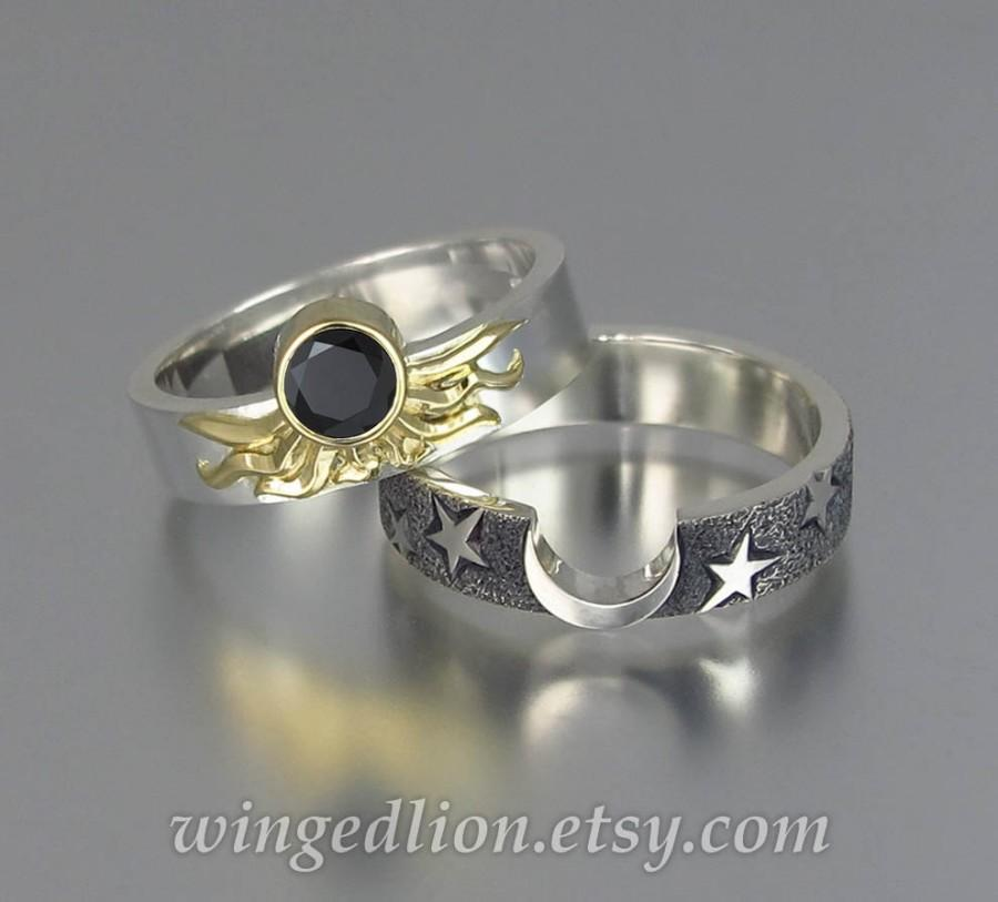 Sun And Moon Eclipse Engagement Ring Wedding Band Set In 18k 14k Gold With Black Diamond