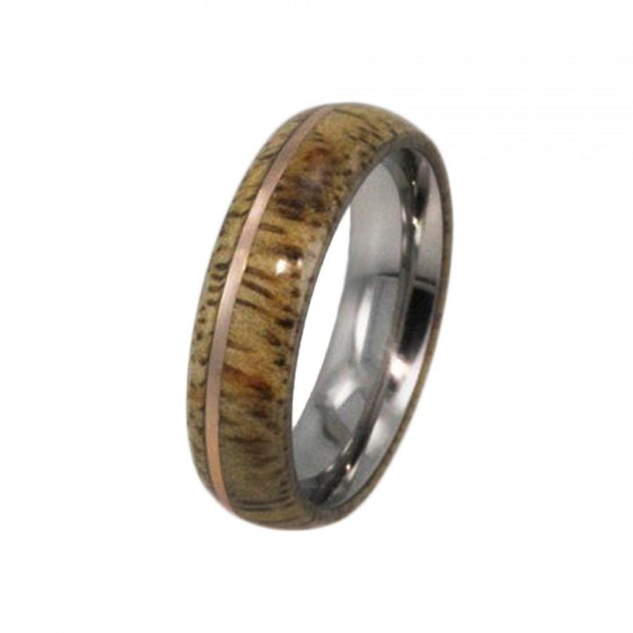 Titanium Ring With Mango Wood Rose Gold Wooden Wedding Band Ring