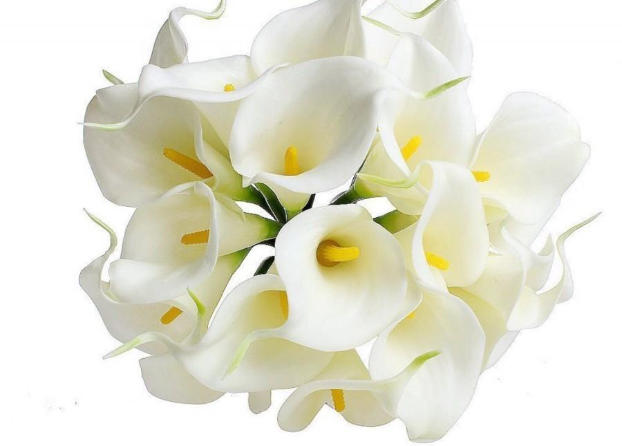 Свадьба - White real touch calla lily stems or bundle for wedding bouquets 10pcs