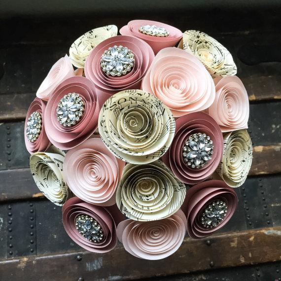 Boda - Paper Flower Bouquet - Wedding Bouquet Alternative - Rhinestone Bouquet - Wedding Bouquet - Bridal Flowers - Artificial Bouquet - Brooch