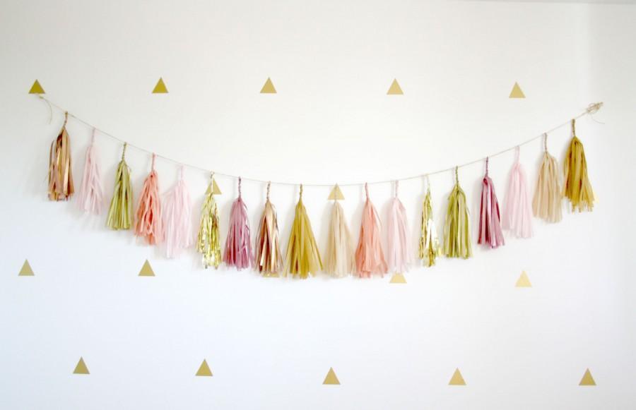 stunning Tassel Garland Nursery Part - 9: Blush Pink, Dusty Rose, Neutrals, Gold Tassel Garland - Nursery Decor, Soft  Romantic Wedding Decorations, Baby Shower