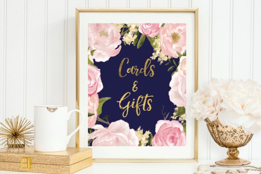 Navy Blush Gold Cards And Gifts Sign 2523438 Weddbook