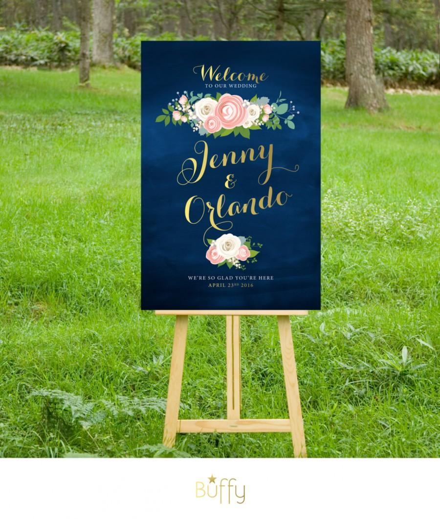 Hochzeit - The JENNY . Welcome Wedding Ceremony Sign . Gold Calligraphy & Navy Chalkboard . White Roses Pink Peonies Dusty Miller . Custom Flowers PDF