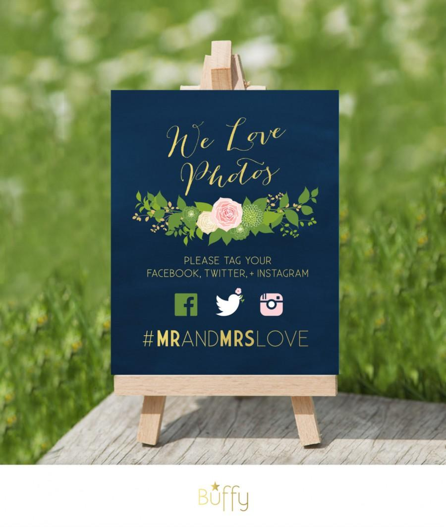 Mariage - The JULIE . Instagram Photo Hashtag Navy Chalkboard Wedding Sign . We Love Photos . Calligraphy & Gold Blush Rose Dahlias Peonies  PDF