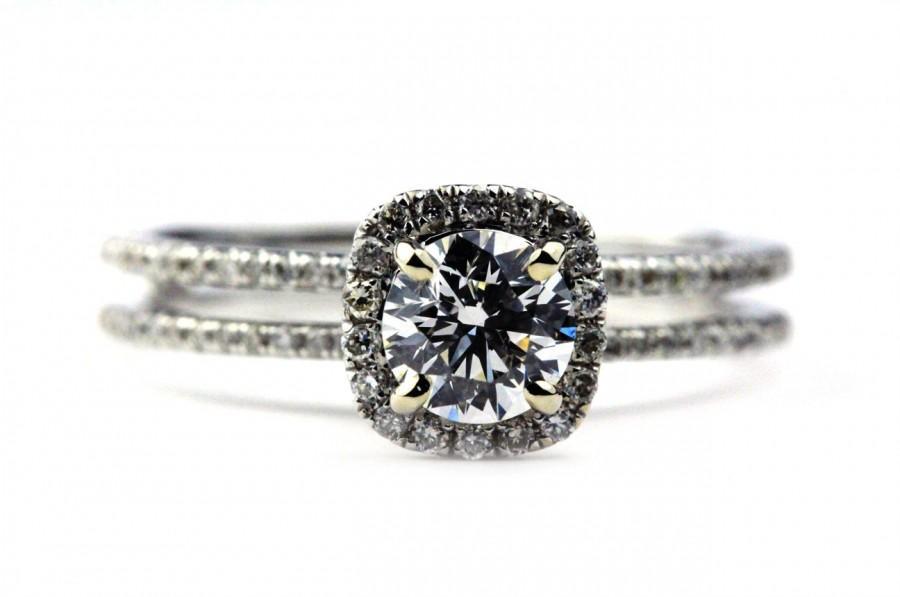 Mariage - Split Shank Halo Engagement Ring - GIA Excellent Cut Diamond