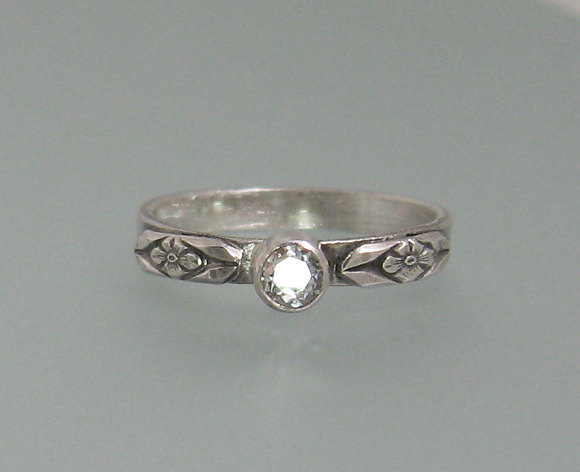 Wedding - White sapphire engagement ring - sterling silver floral solitaire ring - non-traditional diamond alternative promise ring - commitment ring
