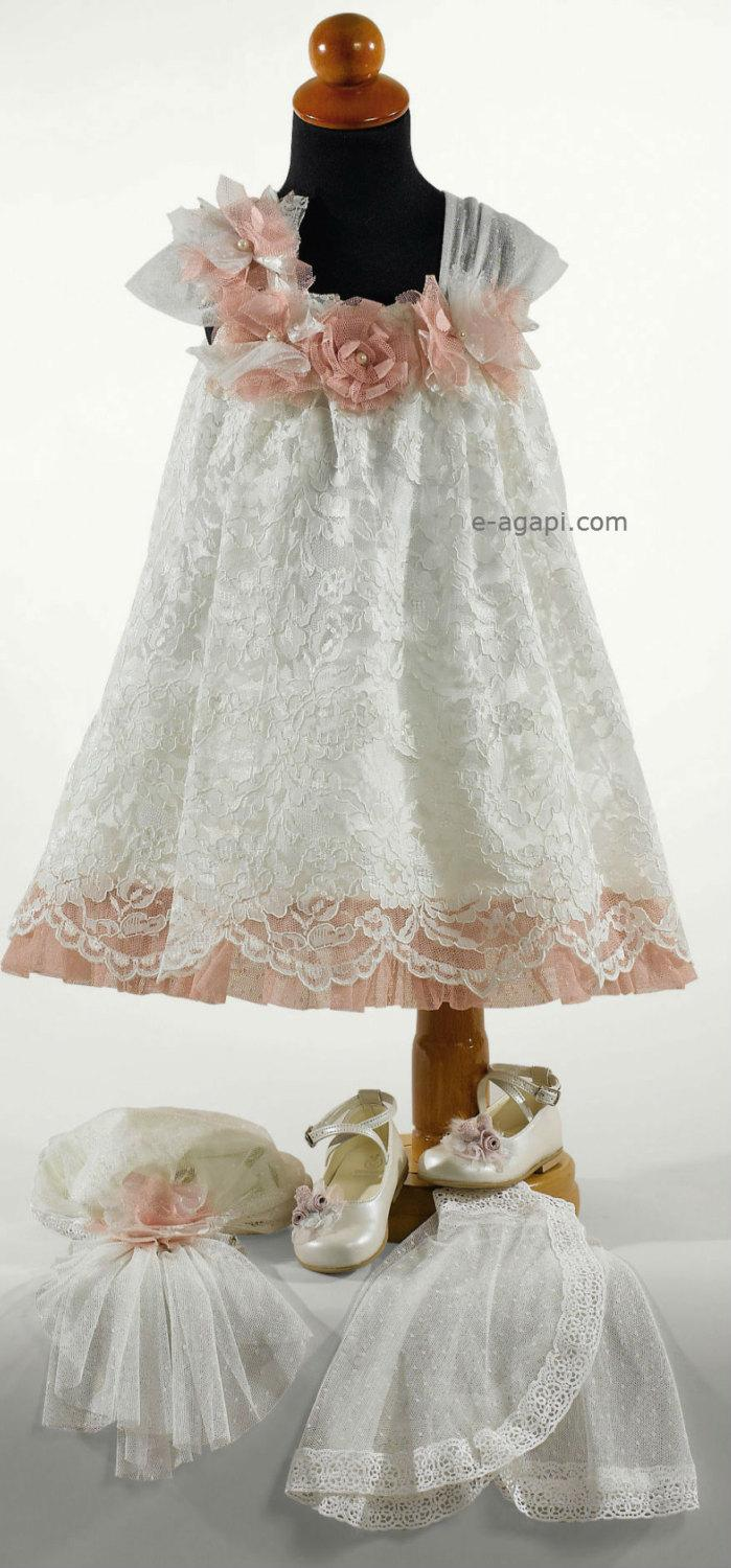 d76e1dfec 3pc Couture lace dress Baby girl wedding dress white SET * Greek Christening  clothes * Flower girl vintage dress * Baby summer baptism dress
