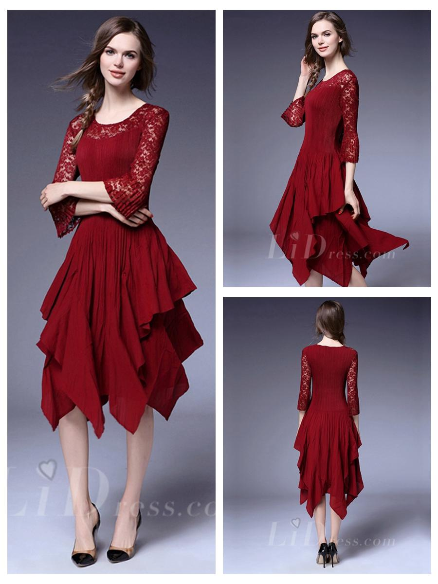 Wedding - Half Sleeves Pleated Dress