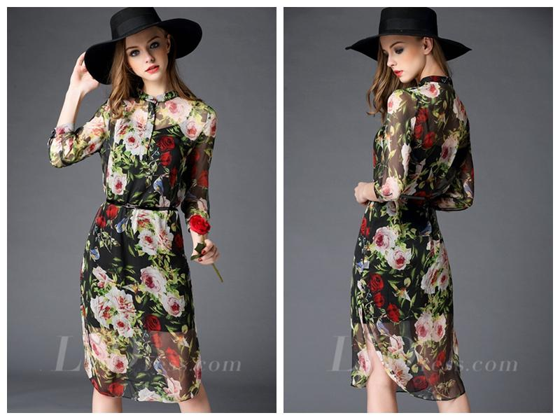 Wedding - Half Sleeves Flower Print Tea-length Fashion Dress