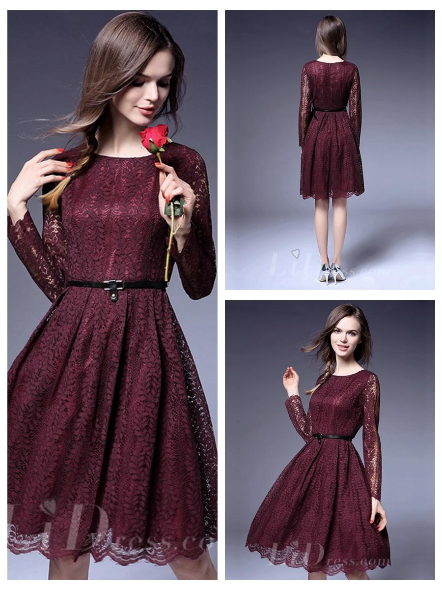 Wedding - Illusion Long Sleeves Short Lace Dress
