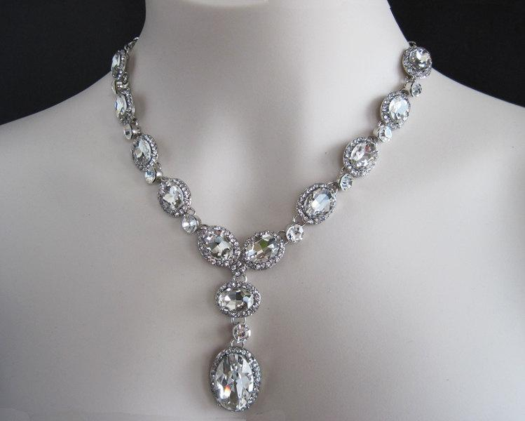 Sparkling Bridal Jewelry Set Rhinestone Necklace Clip On Earrings Wedding 2 Traditional Formal Occasion