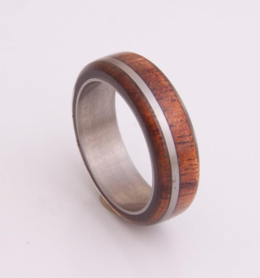 Mariage - Titanium Ring Mens Wood Wedding Band with Titanium Ring man ring