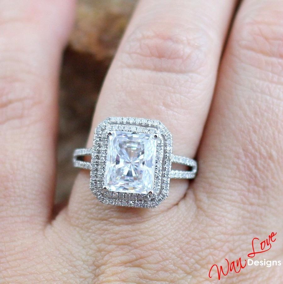Radiant Cz Cubic Zirconia Diamond 2 Halo Engagement Ring 35ct 10x8mm 14k  18k White Yellow Rose Goldplatinumcustomweddinganniversary
