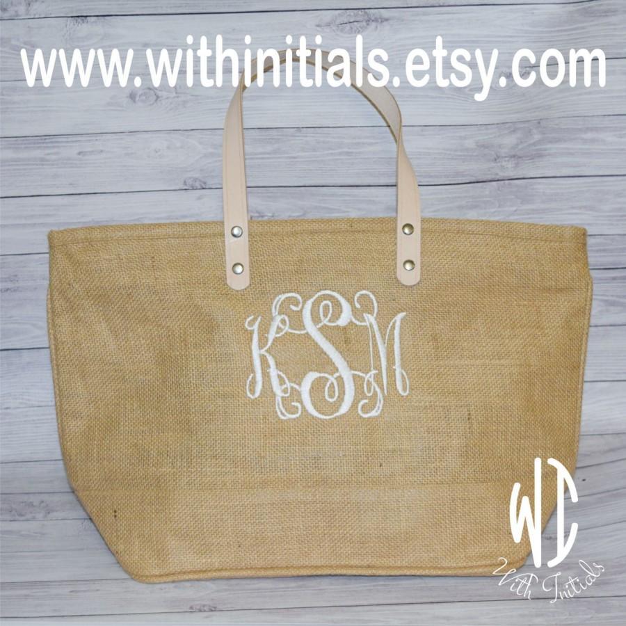 monogrammed natural jute burlap tote bag personalized bridesmaid 39 s tote jute bag beach bag. Black Bedroom Furniture Sets. Home Design Ideas