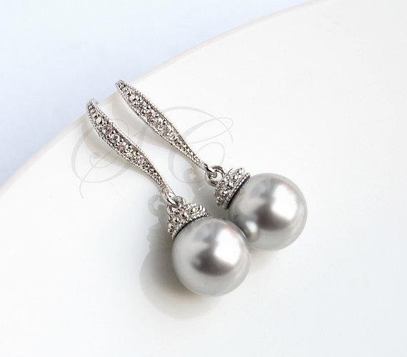 Mariage - Grey Pearl Earrings Grey Wedding Jewelry Swarovski Light Grey Cubic Zirconia Bridesmaid Jewelry Dangle Bridesmaids Gift K041