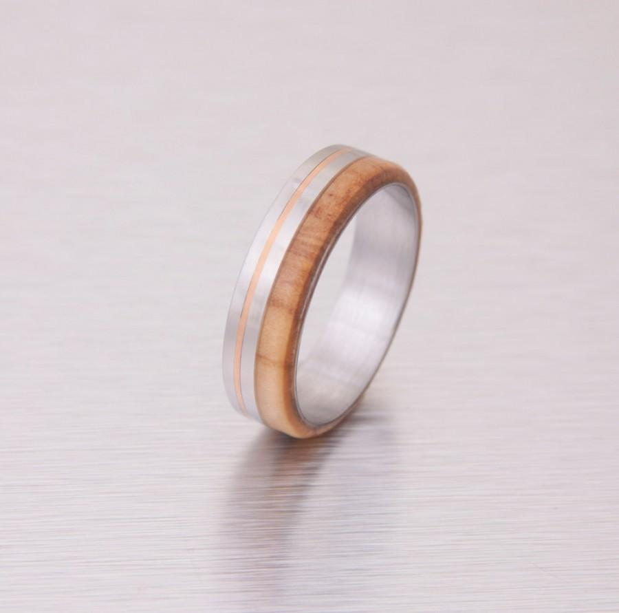 Wood Wedding Ring Titanium Wedding Band Mens Engagement Olive