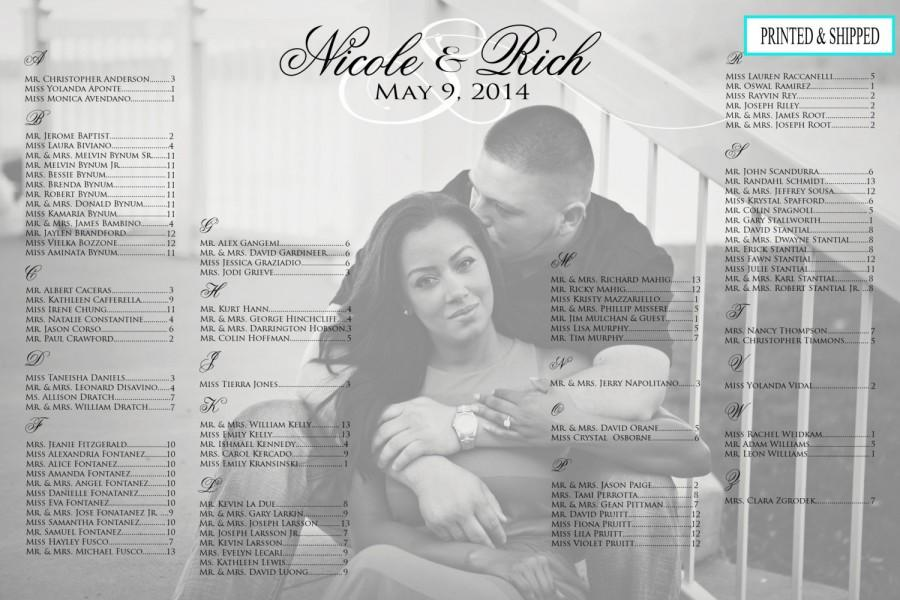 Wedding Seating Chart Photo Printed Alphabetical Black And White