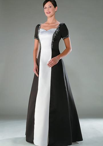 Mariage - Black White Satin Floor Length Short Sleeves Appliques RuchedBlack White Satin Floor Length Short Sleeves Appliques Ruched