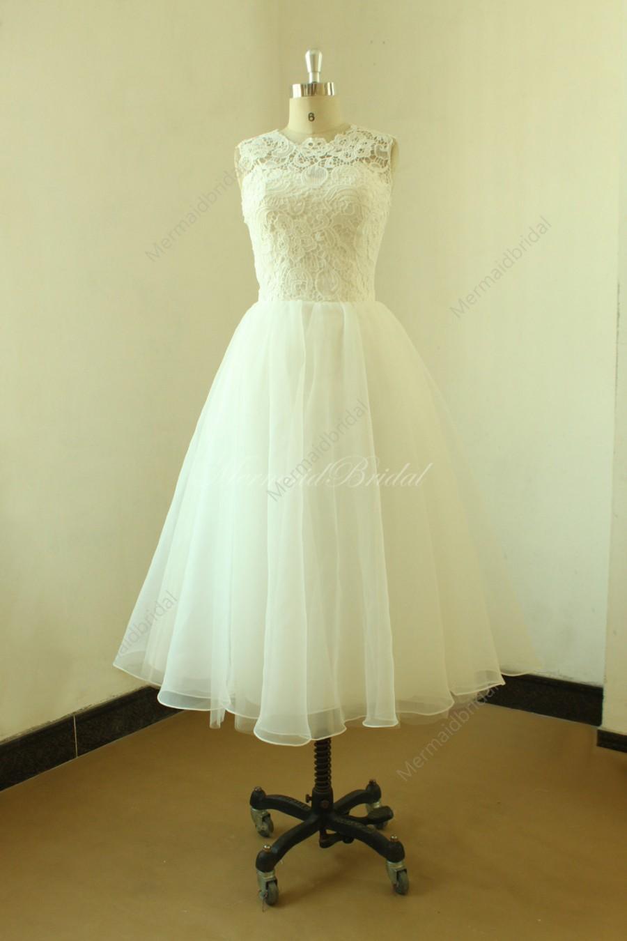 Vintage tea length lace wedding dress short wedding dress for Vintage t length wedding dresses