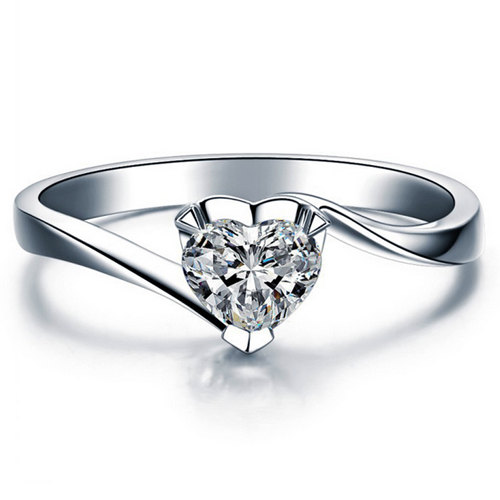 Mariage - Heart Cut Twisted Diamond Engagement Ring 14k White Gold or Yellow Gold Art Deco Natural Diamond Ring