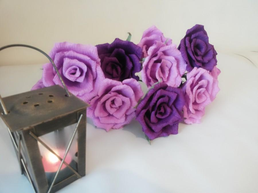 Mariage - 12 pcs of Dark and Light Paper Flower Roses, Home Decoration, Gift For Her, Bridal Bouquet