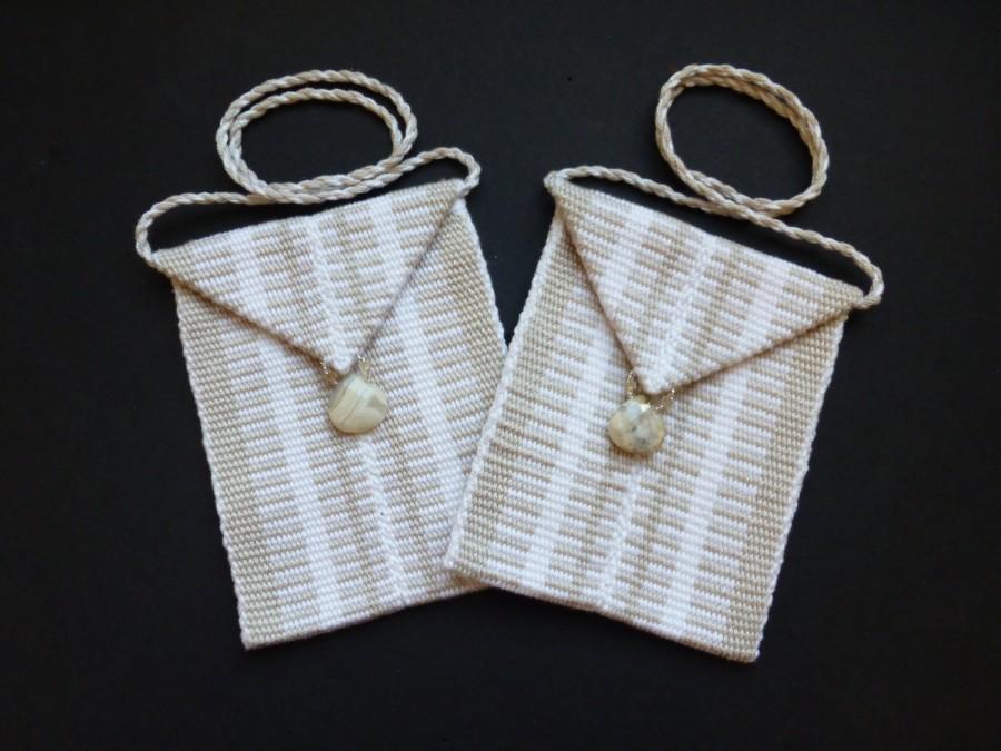 Свадьба - Handwoven wristlets - set of 2 - Soft Sand