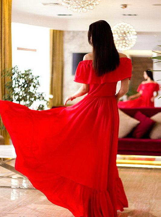 Hochzeit - Long Red Dress,Evening Dress,Open Shoulders Dress,Flared Dress,Floor Length Dress,Wedding Event Dress,Chiffon Dress,Bridesmaid Summer Dress
