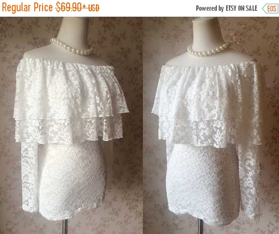 2a9e3e95 Chic Ivory White lace top, Women Lace Shirts, Custom Wedding Women Topper,  Long sleeve Off shoulder top for wedding party - plus size(B883)