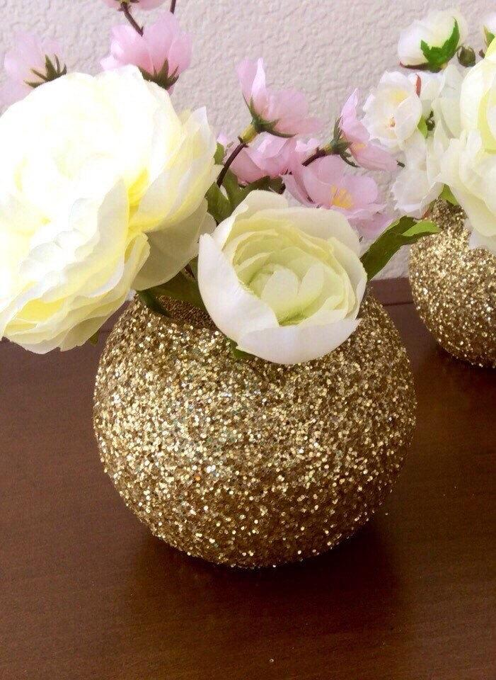 Gold glitter bubble bowl globe vase wedding