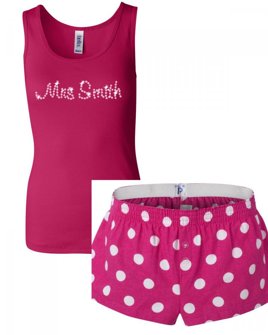 Personalized PJ Lounge Set - Rhinestone Mrs Tank And PJ Boxer Shorts ...