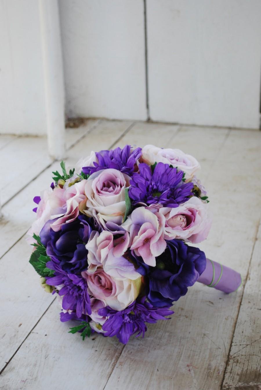 Mariage - Silk bridal bouquet, purple roses, gerbera daisies, lavender hydrangeas