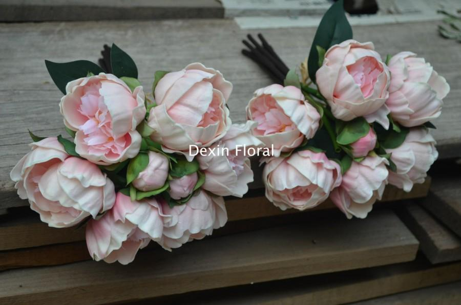 2 Bundles! Blush Pink Peonies For Silk Bridal Bouquets Real Touch ...