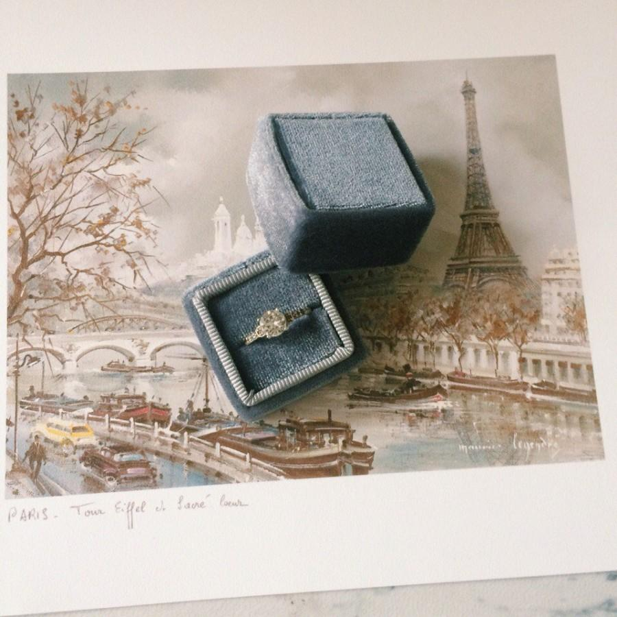 Свадьба - Free shipping! Gray Velvet Ring Box Handmade Wedding Vintage  Shiny