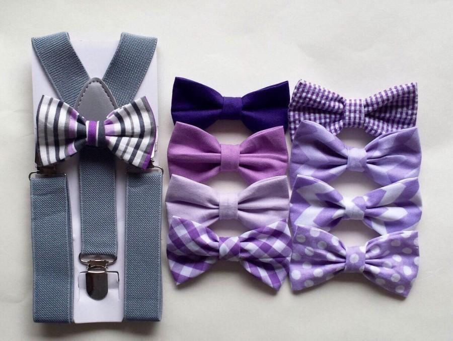Wedding - Boys lavender bow tie and suspenders, boys purple bow tie and suspenders, lavender wedding bow tie, purple wedding bow tie, ring bearer