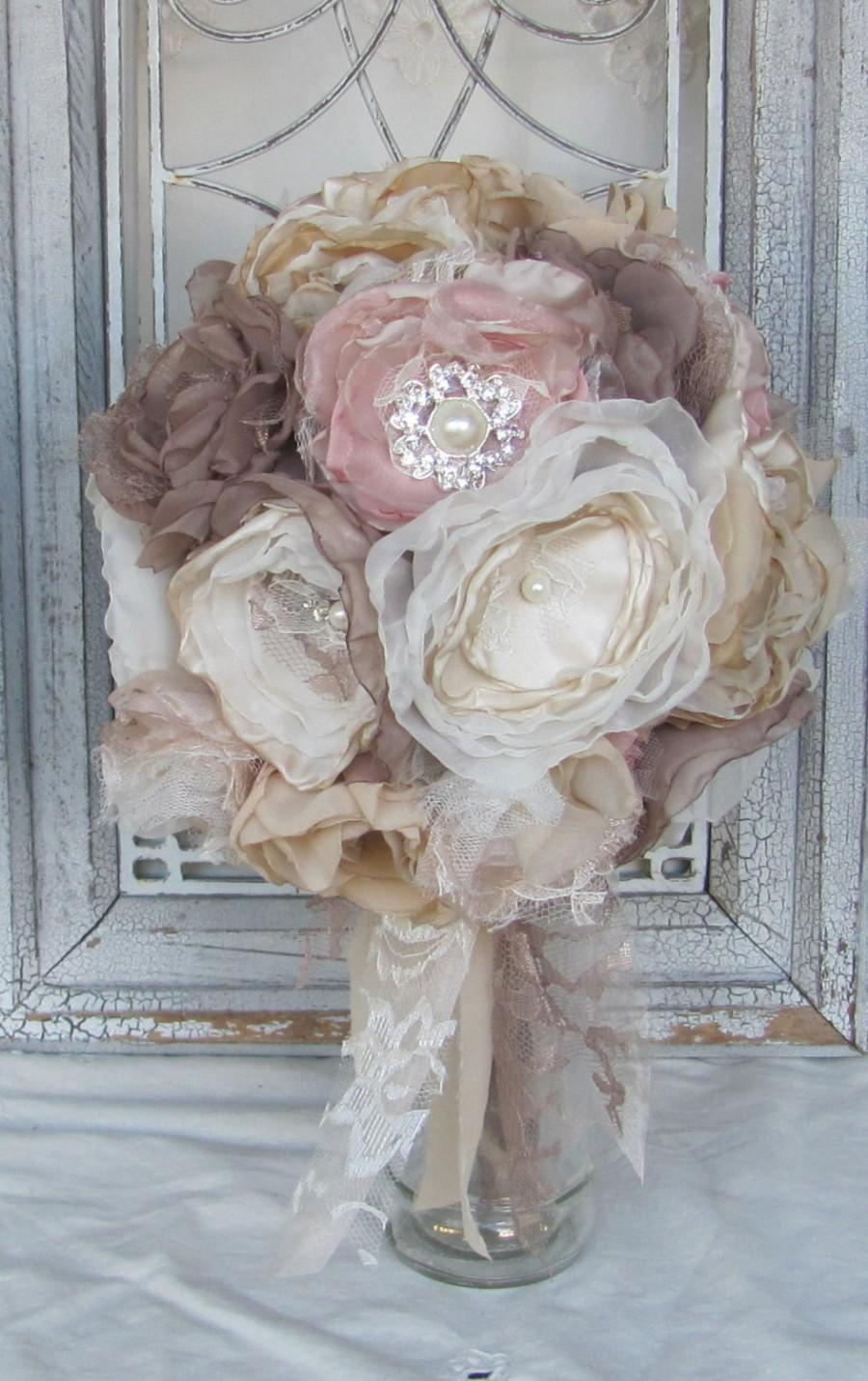 Свадьба - Fabric Bouquet, Bridal Bouquet Rhinestones and Pearls,Wedding Bouquet, Brooch Bouquet, Alternative Bouquet,Wedding Flowers, Blush Bouquet