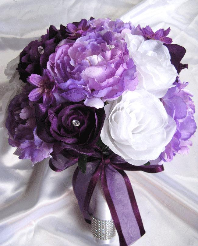 Wedding bouquet bridal silk flowers decoration plum purple