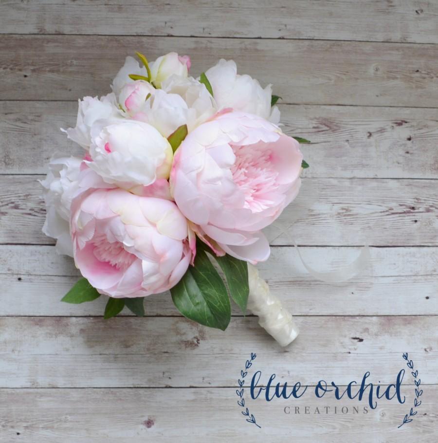 Свадьба - Peony Bouquet with Cream and Blush Peonies - Silk Peony Wedding Bouquet, Peonies