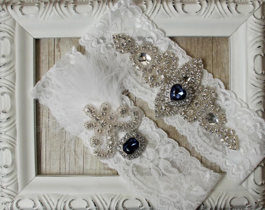 Hochzeit - Wedding garter - Customizable Vintage Garter Set w/Sapphires and Rhinestones on Comfortable Lace, Wedding Garter Set, Crystal Garter Set