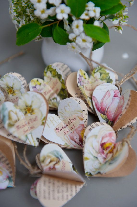 Wedding Favors Paper Baubles Peony And Roses Wedding Decor Name