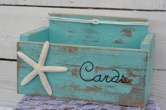 Card Wedding Box Holder Distressed Beach Nautical Rustic Starfish